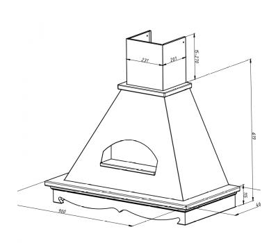 Okap przyścienny AGORA O3 90 SRM NG rysunek techniczny