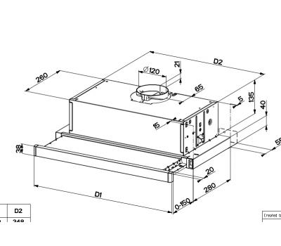 Okap teleskopowy FLEXA AM/X 50 schemat