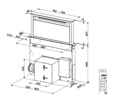 Okap blatowy FABER FABULA EVO+ BK 60 rysunek techniczny