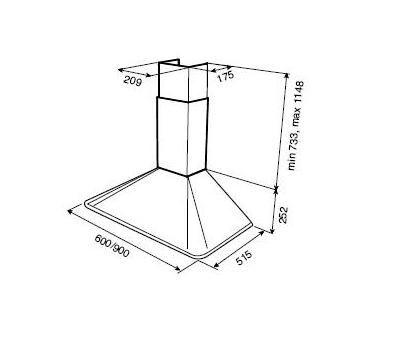 Okap przyścienny TEKA DOS 90 antracyt rysunek techniczny