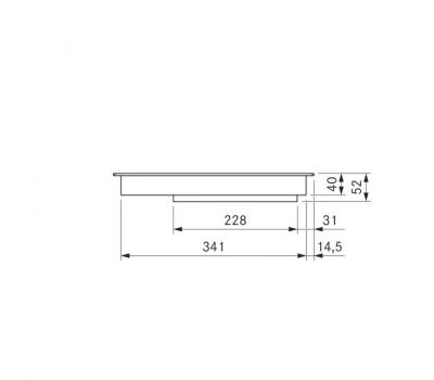BORA Pro indukcyjna ceramiczna płyta grzewcza z dwoma polami grzewczymi o pełnej powierzchni PKFI11AB - rysunek techniczny 3