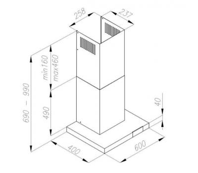 Okap przyścienny AMICA OKC 653T rysunek techniczny