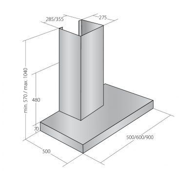 Okap przyścienny AKPO WK-6 FENIKS 60 rysunek techniczny