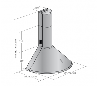 Okap przyścienny AKPO WK-6 DANDYS PLUS 90 INOX rysunek techniczny
