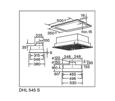 Okap do zabudowy BOSCH DHL545S rysunek techniczny