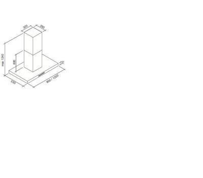 Okap wyspowy FALMEC PLANE 120 ISOLA rysunek techniczny