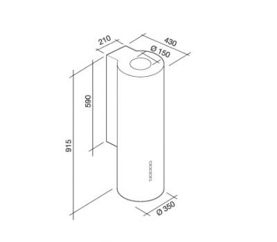 Okap przyścienny FALMEC POLAR White rysunek techniczny
