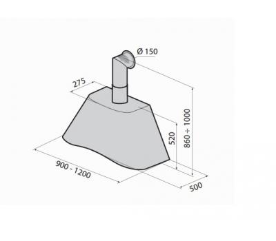 Okap przyścienny GALVAMET CHARME 120 rysunek techniczny