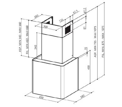 Okap przyścienny FABER LITHOS BK rysunek techniczny