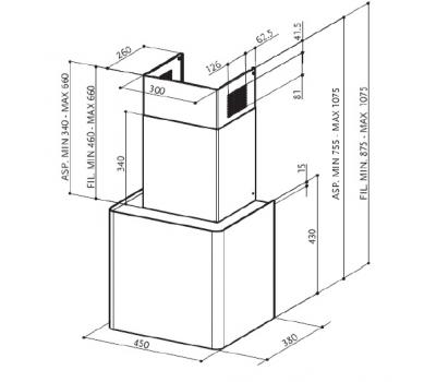 Okap przyścienny FABER LITHOS W rysunek techniczny