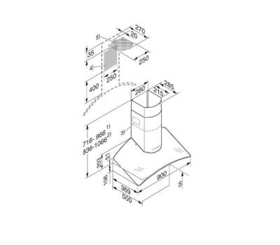 Okap przyścienny MIELE DA 249-4 rysunek techniczny