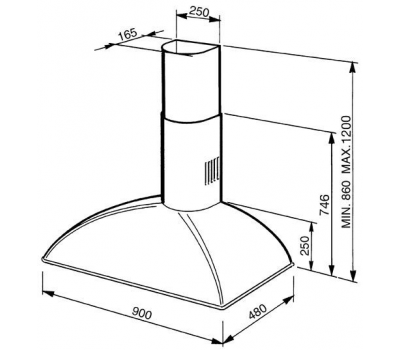 Okap przyścienny SMEG KS89PE rysunek techniczny