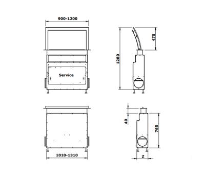 Okap blatowy GUTMANN FUTURA 120 rysunek techniczny