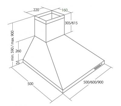 Okap przyścienny AKPO WK-4 CLASSIC 90 ECO rysunek techniczny