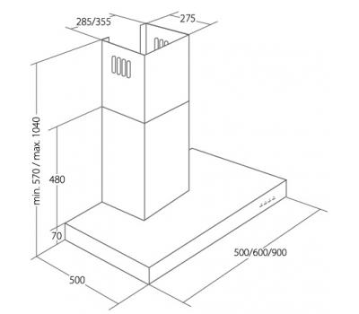 Promocja Okap przyścienny AKPO WK-4 FENIKS 90 ECO rysunek techniczny