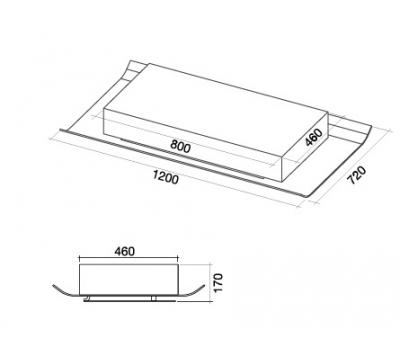 Okap sufitowy FALMEC CIELO 120 rysunek techniczny