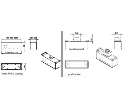Okap do zabudowy GUTMANN LLANO 81 rysunek techniczny