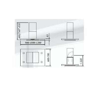 Okap wyspowy GUTMANN ENTRADA 14 I 100 cm rysunek techniczny