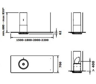 Okap wyspowy GUTMANN SOLO- DESIGN 150 rysunek techniczny