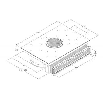 BORA Basic BIU płyta indukcyjna z okapem rysunek techniczny