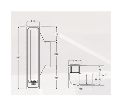 Okap blatowy BORA PROFESSIONAL PL540E rysunek techniczny