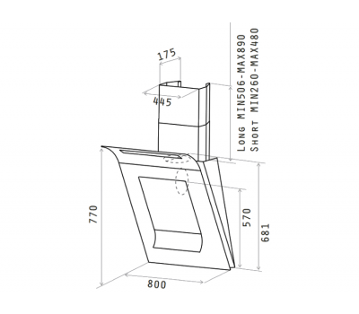 Okap przyścienny ELICA SINFONIA BL/F/80 rysunek techniczny