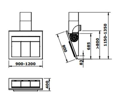 Okap przyścienny GUTMANN CARA 120 rysunek techniczny