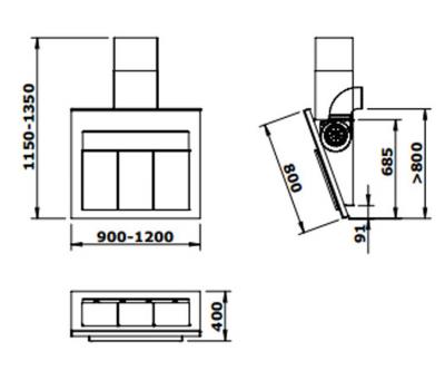 Okap przyścienny GUTMANN QUADRO 120 rysunek techniczny