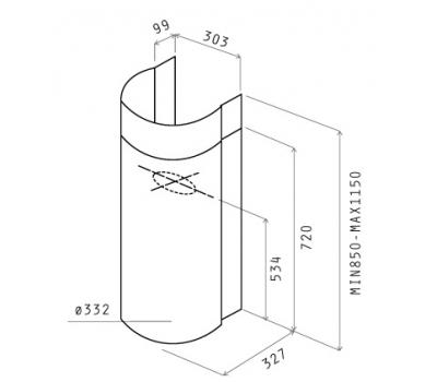 Okap przyścienny ELICA STONE WH/A/33 WHITE rysunek techniczny