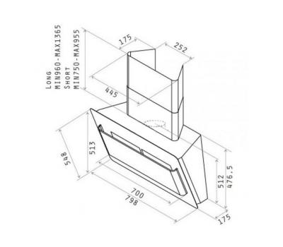 Okap przyścienny ELICA BELT LUX WH/A/80 biały rysunek techniczny