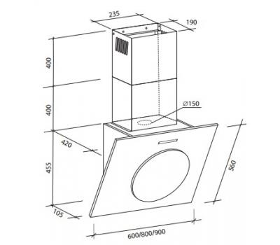 Okap przyścienny Toflesz OK-6 ONYX 80 biały rysunek techniczny