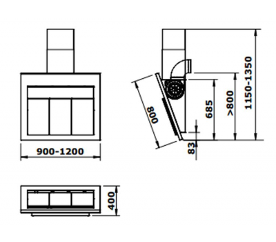 Okap przyścienny GUTMANN CARA 90 rysunek techniczny