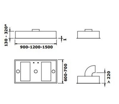Okap do zabudowy GUTMANN 31 EM 120 rysunek techniczny