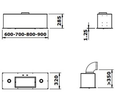Okap do zabudowy GUTMANN 22 EM 90 rysunek techniczny