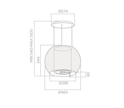 Okap wyspowy ELICA STAR IX/F 47 rysunek techniczny