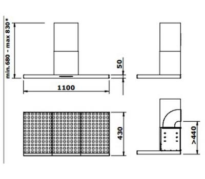 Okap przyścienny GUTMANN RAYO 110 rysunek techniczny