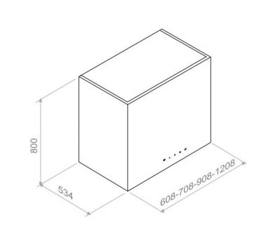 Okap przyścienny PANDO P-330 120 cm rysunek techniczny