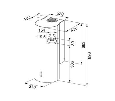 Okap przyścienny FRANKE Turn - FTU 3805 XS LED rysunek
