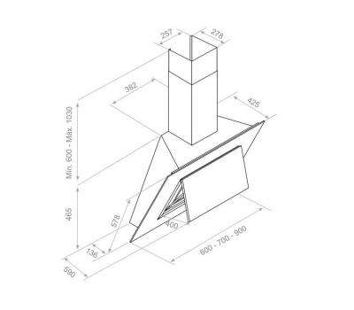 Okap przyścienny PANDO P-732 90 cm rysunek