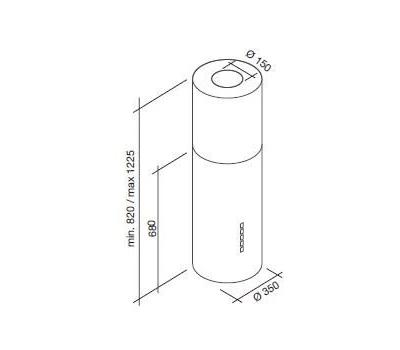 Okap wyspowy FALMEC POLAR II ISOLA rysunek techniczny